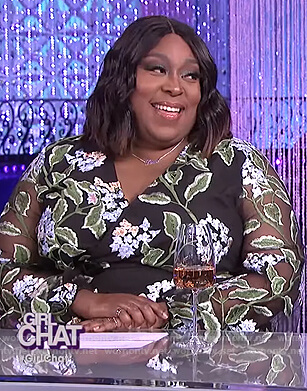 Loni's floral embroidered wrap dress on The Real