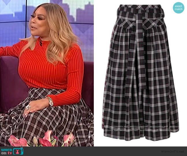 Plaid Belt Skirt by Marc Jacobs worn by Wendy Williams  on The Wendy Williams Show