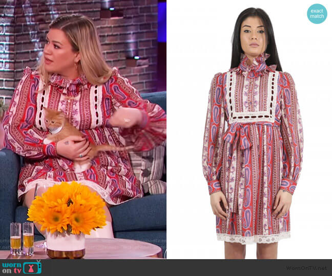 Paisley Dress by Marc Jacobs worn by Kelly Clarkson  on The Kelly Clarkson Show