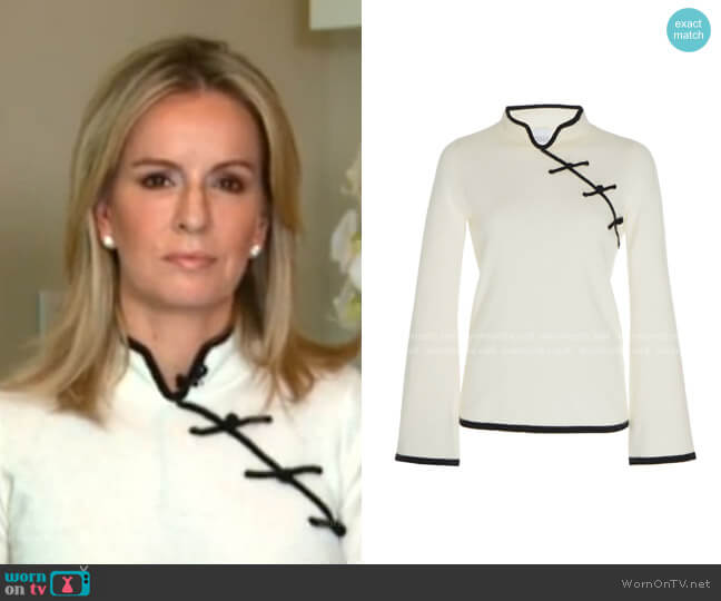 Castor Two-Tone Cashmere Top by Madeleine Thompson worn by  Dr. Jennifer Ashton on GMA