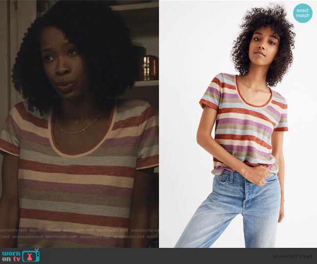 Alto Scoop Tee in Granda Stripe by Madewell worn by Grace James (Karimah Westbrook) on All American