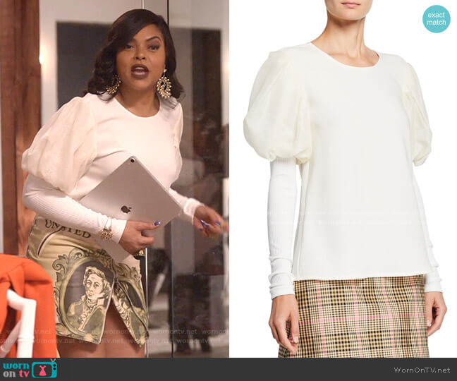 It's A New Day Puffed-Sleeve Gauze Trimmed Crepe Top by Maggie Marilyn worn by Cookie Lyon (Taraji P. Henson) on Empire