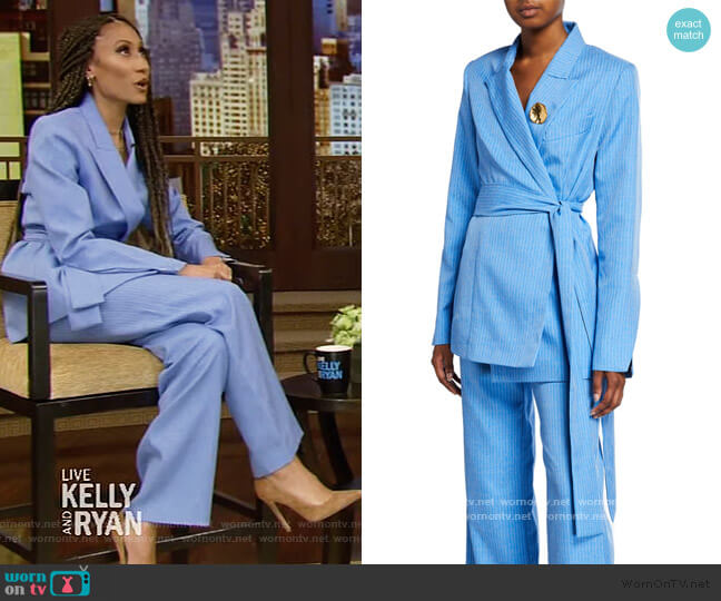 Just Getting Started belted Blazer and Pants by Maggie Marilyn worn by Elaine Welteroth on Live with Kelly and Ryan