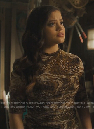 Maggie's brown snakeskin ruched mini dress on Charmed
