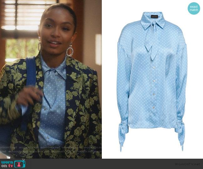 Knotted Polka-dot Satin Shirt by Magda Butrym worn by Zoey Johnson (Yara Shahidi) on Grown-ish
