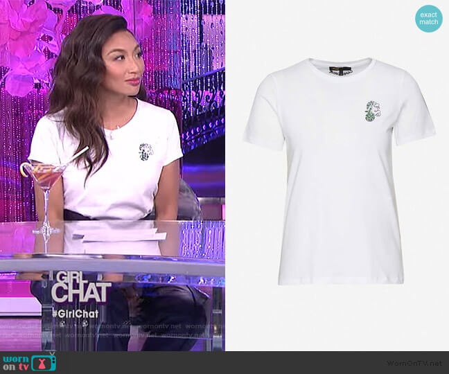 Capricorn-embellished cotton-jersey T-shirt by Maje worn by Jeannie Mai  on The Real