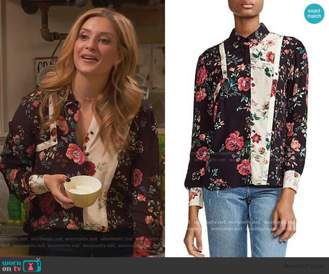 Ciller Patchwork Floral Print Shirt by Maje worn by Chelsea Grayson (Anneliese van der Pol) on Ravens Home