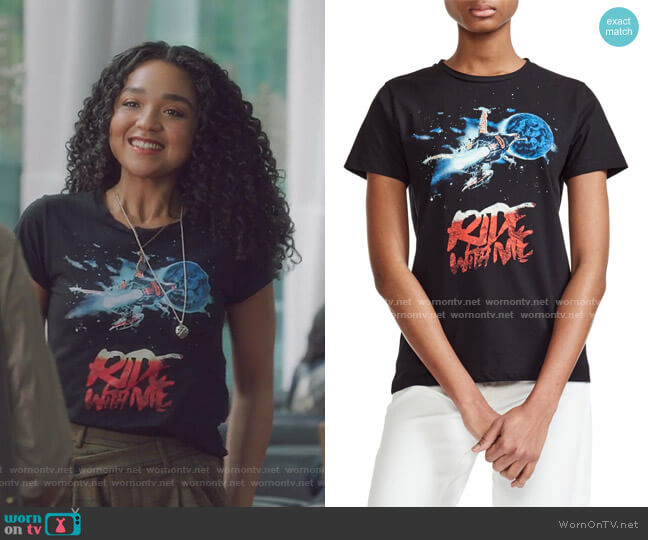 Tarot Ride With Me Cotton Tee by Maje worn by Kat Edison (Aisha Dee) on The Bold Type