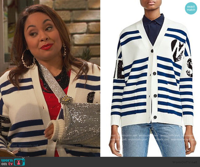 Murmur Striped & Sequined Cardigan by Maje worn by Raven Baxter (Raven-Symoné) on Ravens Home