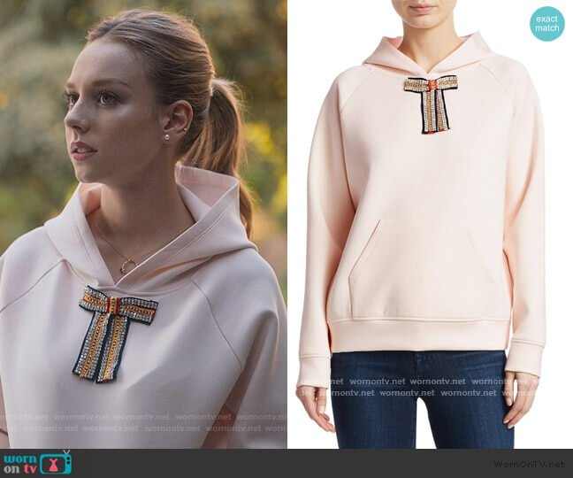 Tanina Jewel Bow Hoodie by Maje worn by Carla Roson Caleruega (Ester Exposito) on Elite
