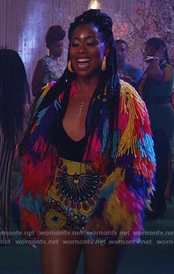 Malika's rainbow shaggy jacket on Good Trouble
