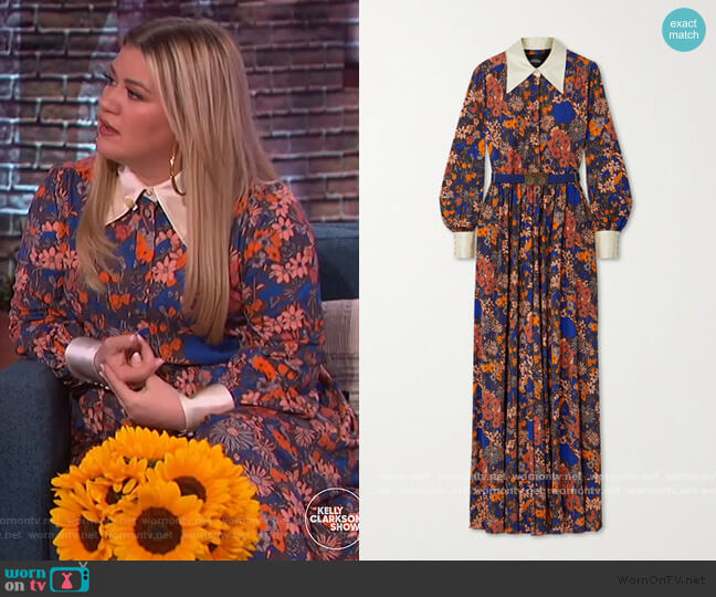 Belted Floral-print Jersey and Duchesse Jumpsuit by Marc Jacobs worn by Kelly Clarkson  on The Kelly Clarkson Show
