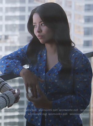 Mariana's blue floral v-neck top on Good Trouble