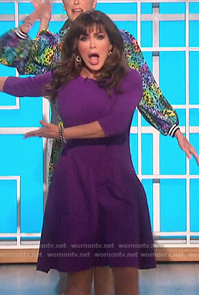 Marie's purple textured flare dress on The Talk