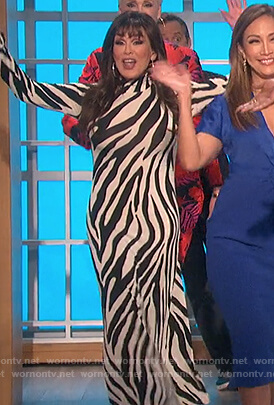 Marie's zebra stripe mock neck dress on The Talk