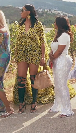 Marlo Hampton's yellow leopard print maxi dress on The Real Housewives of Atlanta