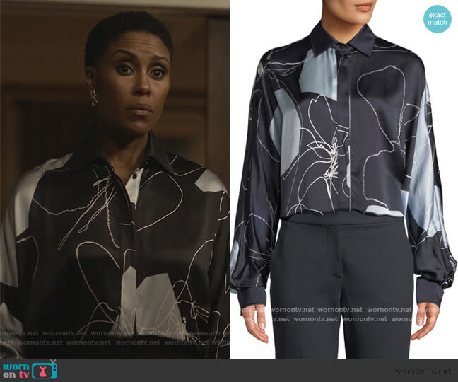 Renna Abstract-Print Silk Button-Front Blouse by Max Mara worn by Lynn Stewart (Christine Adams) on Black Lightning