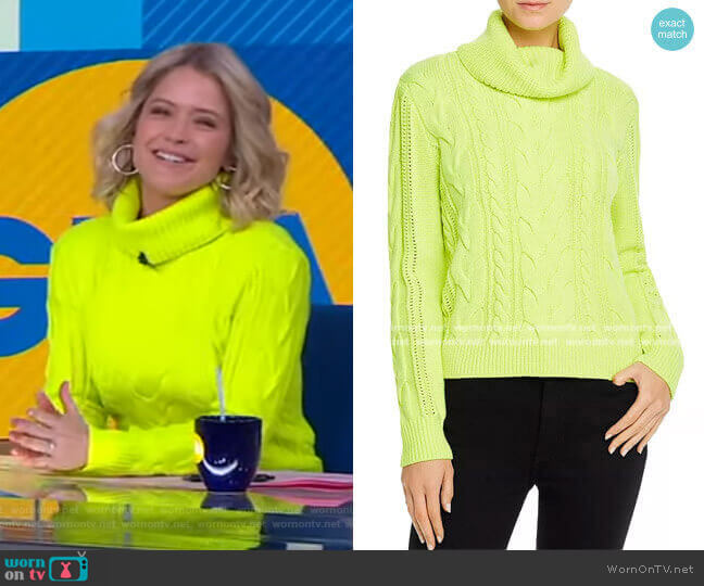 Mayme Cable-Knit Cowl-Neck Sweater by Alice + Olivia worn by Sara Haines  on Good Morning America