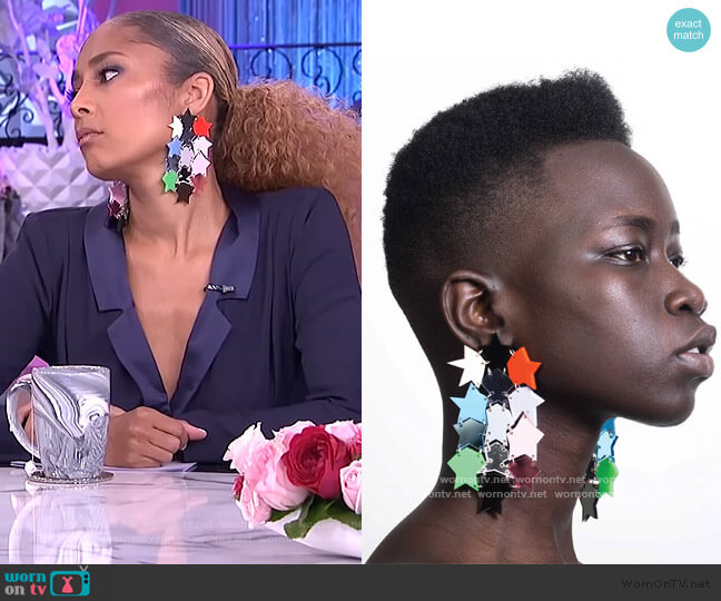 Star Statement Earrings by Melody Ehsani worn by Amanda Seales  on The Real