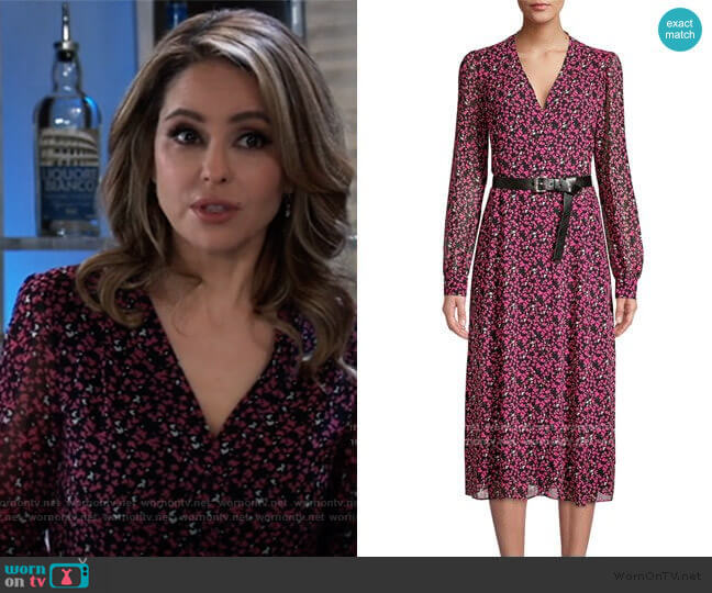 Multi-Floral Belted Dress by MICHAEL Michael Kors worn by Olivia Falconeri (Lisa Lo Cicero) on General Hospital