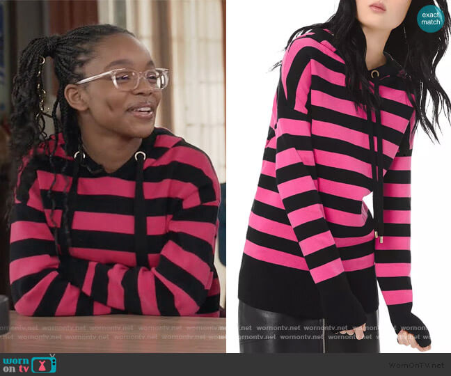 Striped Cotton-Blend Hoodie by MICHAEL Michael Kors worn by Diane Johnson (Marsai Martin) on Blackish