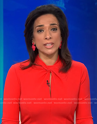 Michelle Miller's red twisted neckline dress on CBS This Morning