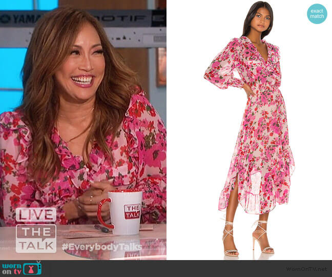 Samantha Ruffle Midi Dress by Misa Los Angeles worn by Carrie Inaba  on The Talk
