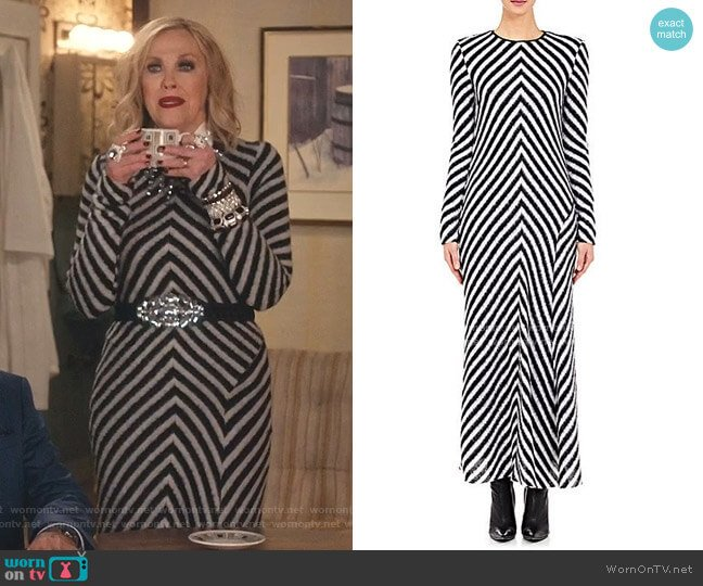 Chevron Sweaterdress by Haider Ackermann worn by Moira Rose (Catherine O'Hara) on Schitts Creek