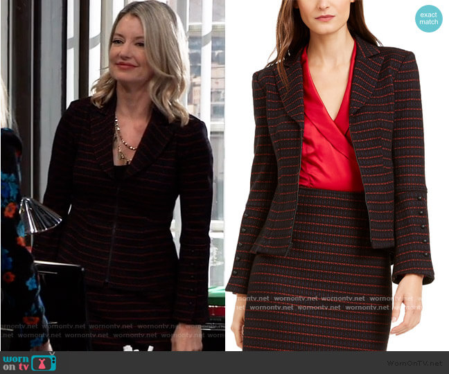 Striped Tailored Blazer and Skirt by Nanette Lepore worn by Nina Reeves (Cynthia Watros) on General Hospital