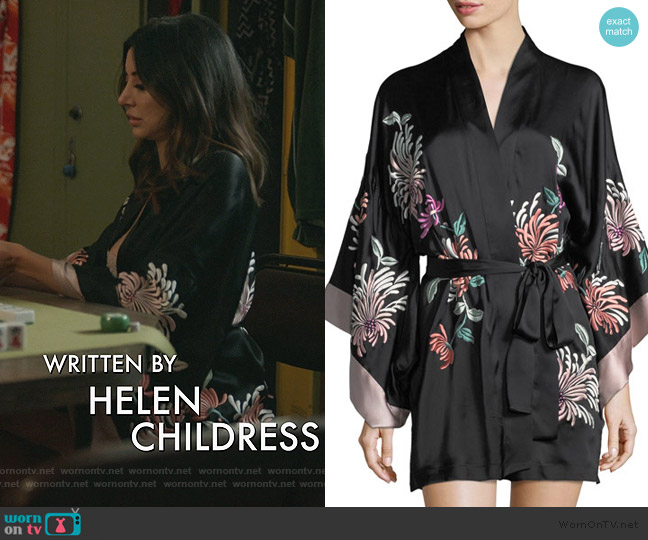 Chrysanthemum Embroidered Silk Robe by Natori worn by Noureen DeWulf on Good Girls