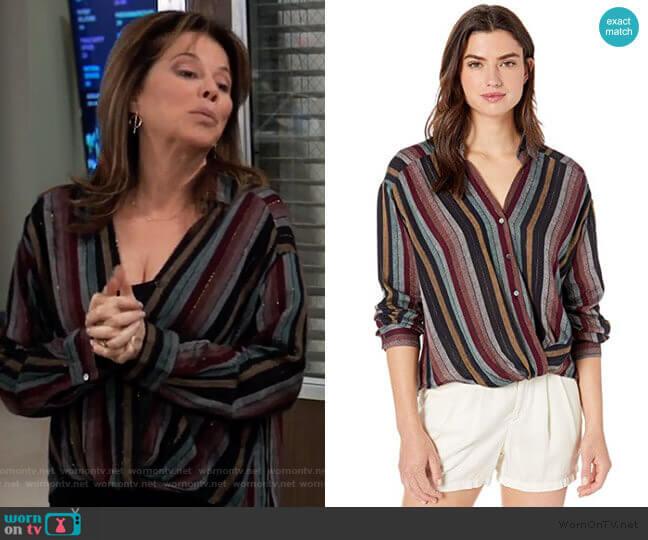 Nessa Lurex Stripe Blouse by Velvet by Graham & Spencer worn by Alexis Davis (Nancy Lee Grahn) on General Hospital