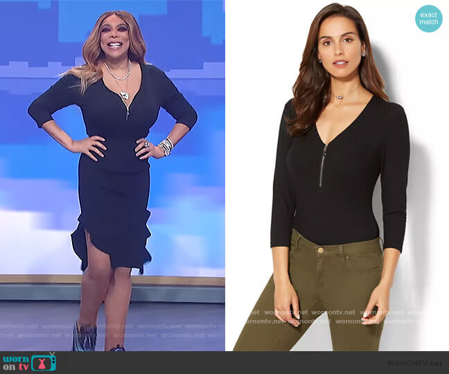 Zip-Accent Bodysuit by New York and Company worn by Wendy Williams  on The Wendy Williams Show