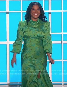 Nia Longs's green floral satin dress on The Talk