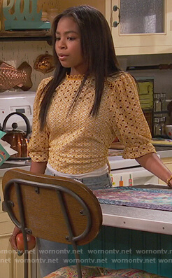 Nia's yellow broderie top on Ravens Home
