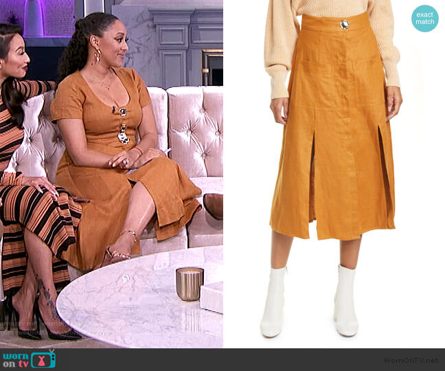 Masala linen midi skirt by Nicholas worn by Tamera Mowry  on The Real