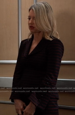 Nina's stripe zip front blazer and skirt on General Hospital