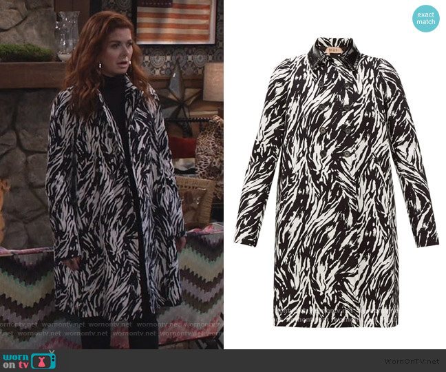Animal Print Peacoat by Nº21 worn by Grace Adler (Debra Messing) on Will & Grace