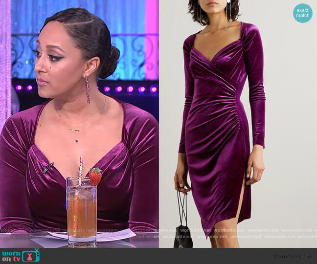 Asymmetric wrap-effect ruched stretch-velvet dress by Norma Kamali worn by Tamera Mowry  on The Real
