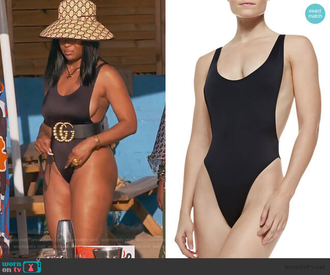Marissa High-Leg One-Piece Swimsuit by Norma Kamali worn by Marlo Hampton on The Real Housewives of Atlanta