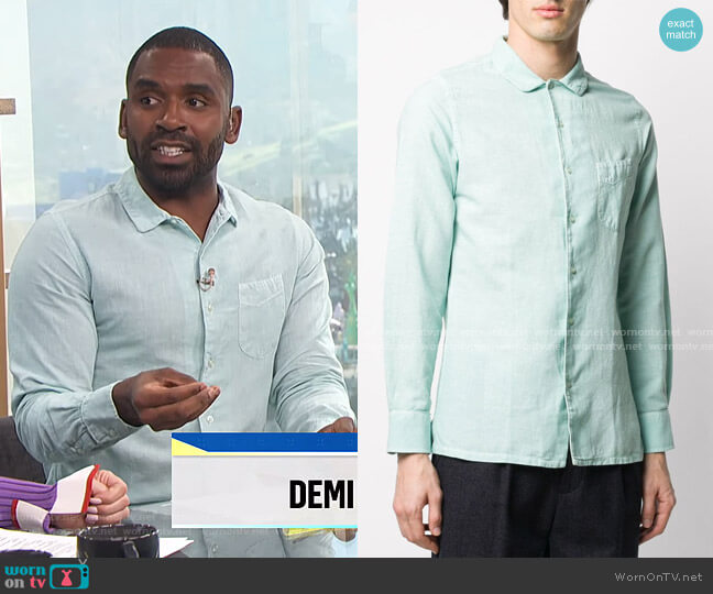 Crinkled Linen-Blend Shirt by Officine Generale worn by Justin Sylvester  on E! News