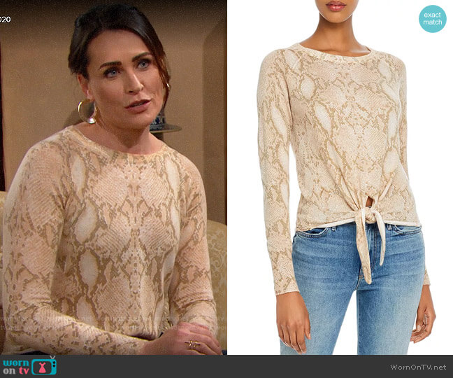 Olivaceous Snake-Print Tie-Front Sweater worn by Quinn Fuller (Rena Sofer) on The Bold & the Beautiful