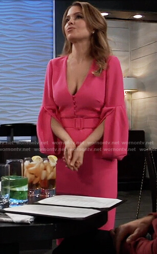 Olivia's pink belted midi dress on General Hospital