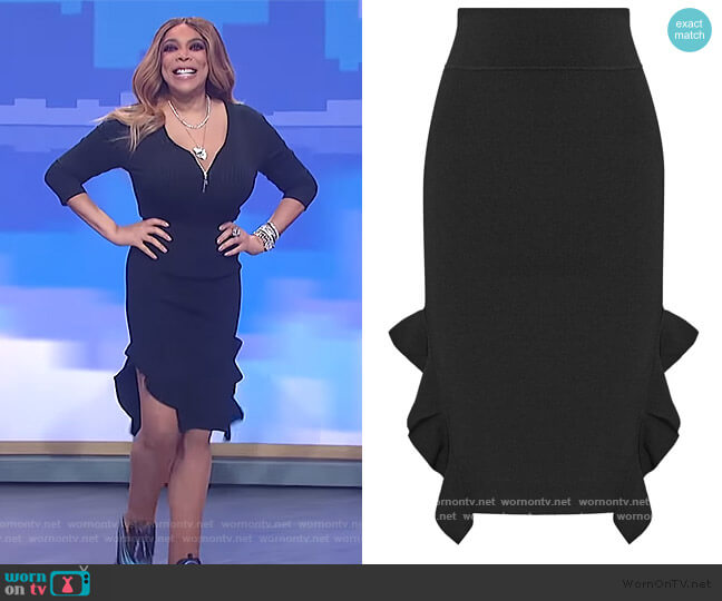 Ruffle-trimmed stretch-knit skirt by Opening Ceremony worn by Wendy Williams  on The Wendy Williams Show