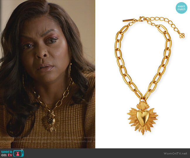 Sacred Heart Pendant Necklace by Oscar de la Renta worn by Cookie Lyon (Taraji P. Henson) on Empire