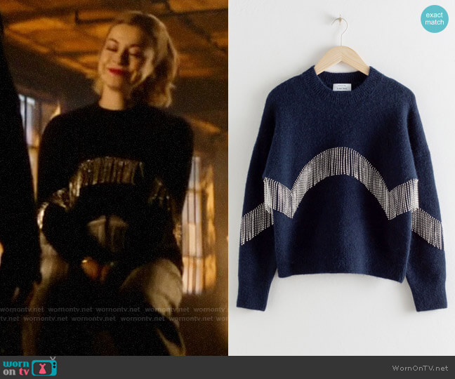 & Other Stories Diamanté Fringe Sweater worn by Pepper Smith (Julia Chan) on Katy Keene