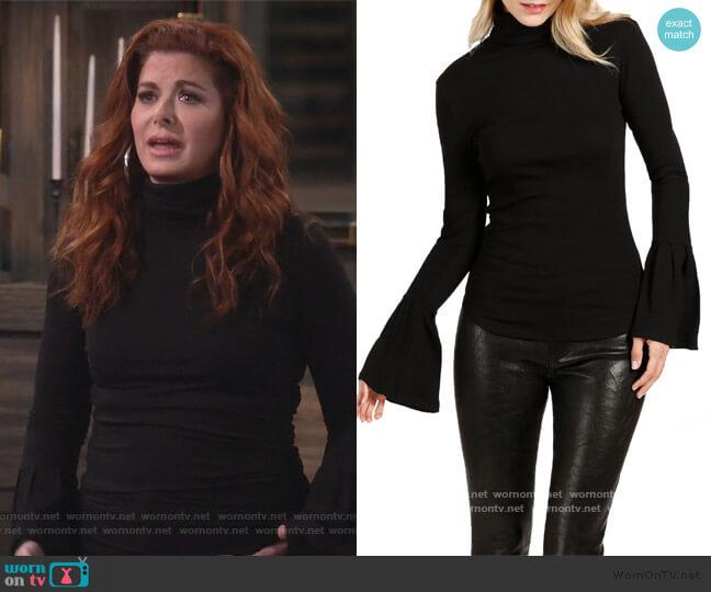 Kenzie Bell Sleeve Turtleneck by Paige worn by Grace Adler (Debra Messing) on Will & Grace