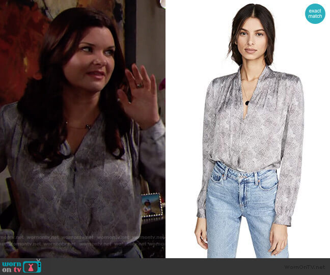 Paige Seville Bodysuit in Silver worn by Katie Logan (Heather Tom) on The Bold & the Beautiful