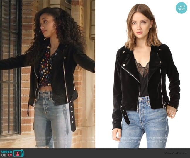 Shanna Velvet Moto Jacket by Paige worn by Olivia Baker (Samantha Logan) on All American