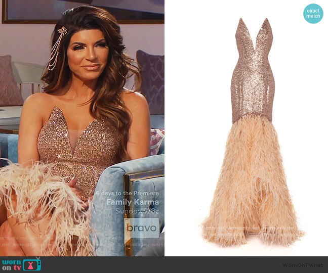 Feather-Trim Sequined Gown by Pamella Roland worn by Teresa Giudice  on The Real Housewives of New Jersey