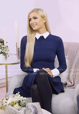 Paris Hilton's navy collared knit dress on Today